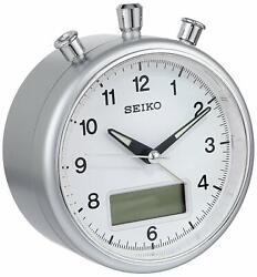 Seiko Alarm Clock QHE114SLH Quiet Sweep Hand Analog & Digital Display NWOB