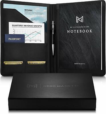 Nero Manetti- Leather Portfolio Folder - Business Pu Leather Portfolio Notepad H