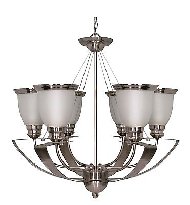 Smoked Nickel And Satin Frosted Glass Energy Star 6 Light Chandelier