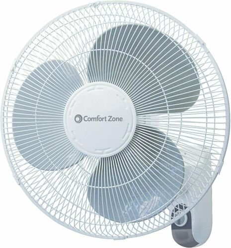 Comfort Zone CZ16W Oscillating 16-inch 3-Speed Wall-Mount Fan White with Adjusta
