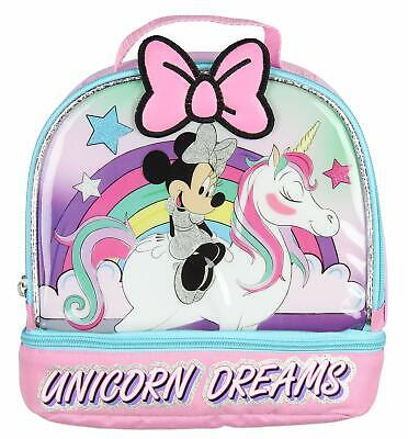 Bags Boxes Bows - Disney Minnie Mouse Girl Thermos Insulated School Lunch Box Bag Unicorn Bow Pink