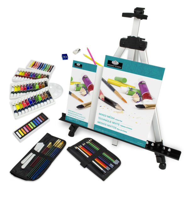 ARTIST ALL MEDIA EASEL TRAVEL SET WATERCOLOUR OIL ACRYLIC PAINTS & PASTELS 96pc