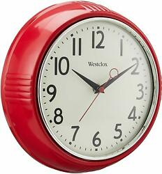 Vintage 50s Style Retro Round 9.5 Red Home Kitchen Wall Clock with Chrome Bezel