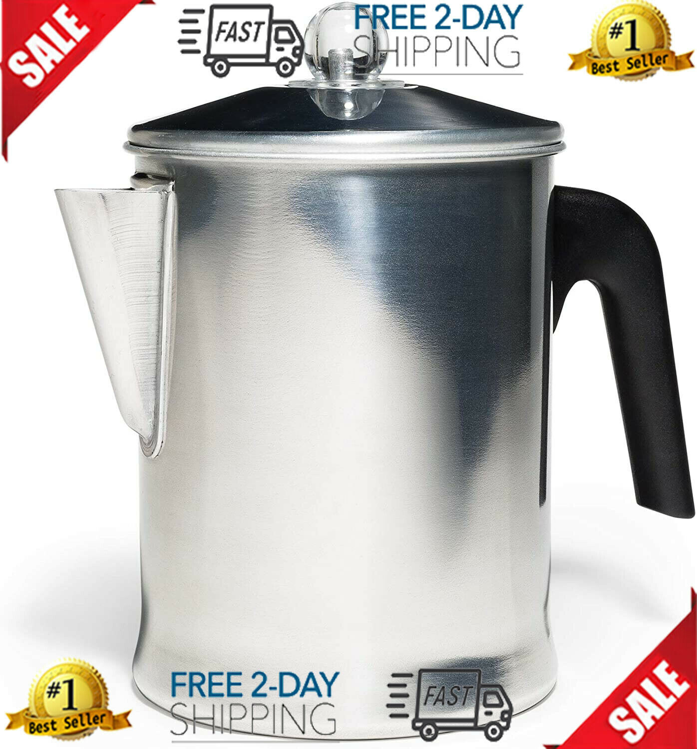 Stovetop Percolator Heavy Duty Today Aluminum Pot Brew Coffe