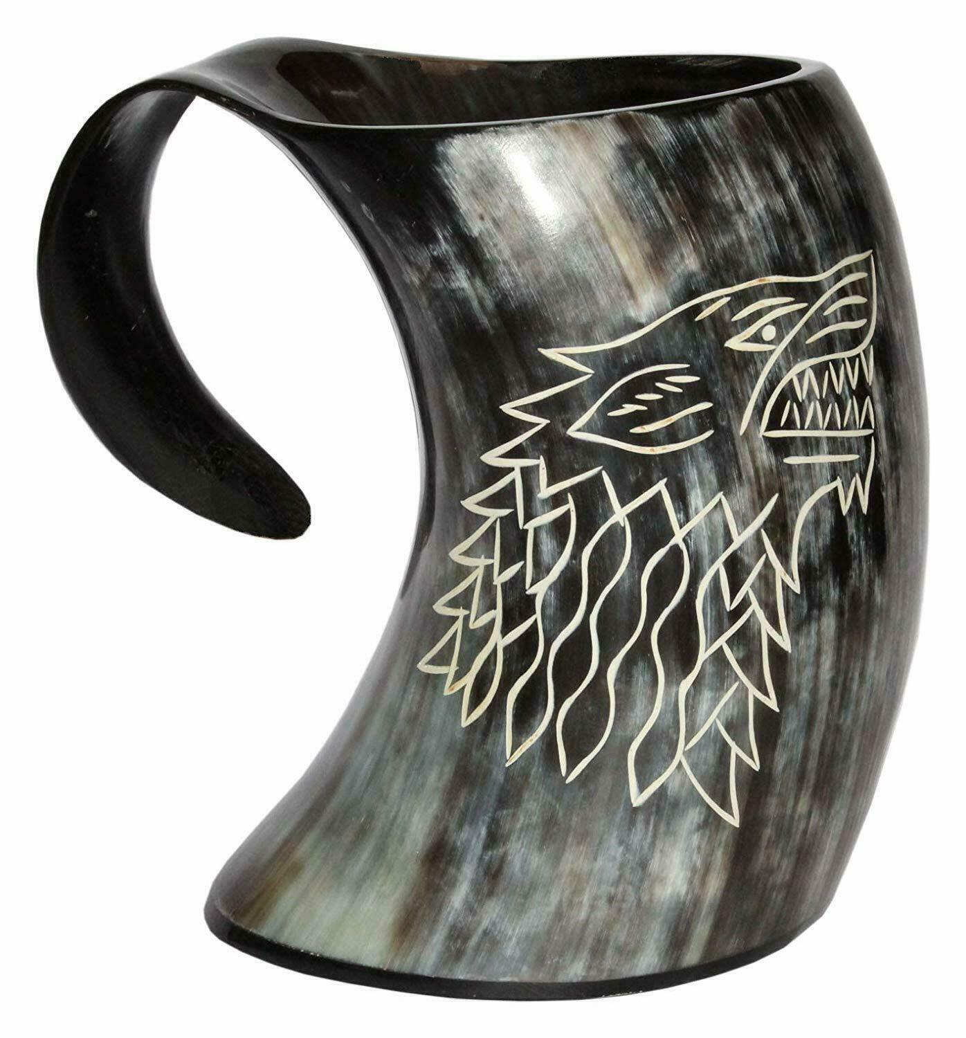 Game OF Thrones Mugs Viking Drinking Horn Mugs Wine Mead Pagan With Brass Liner