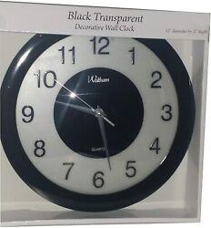 Waltham Black Transparent 12 Quartz Modern Decorative Wall Mounted Clock