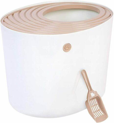 IRIS Top Entry Cat Litter Box with Cat Litter Scoop, White/Beige