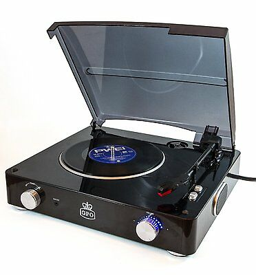 GPO STYLO Retro 3 Speed Record Player Black Vinyl Turntable - Built In Speakers