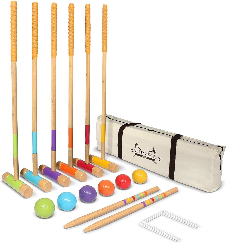 Croquet Set Outdoor - 6 Player Croquet Set with mallets, bal