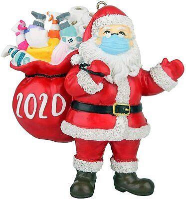 Christmas Tree Ornaments 2020 Santa Wearing Mask Hanging Decor Pendant Novel