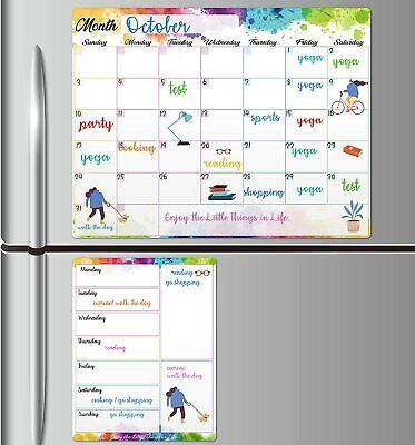 Magnetic Dry Erase Fridge Calendar - White Board Magnetic Calendar For Refrigera