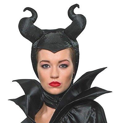 Damen Schwarz Offiziell Maleficent Böse Königin Halloween Kostüm Kopfbedeckung (Maleficent' Kopfbedeckung Kostüm)