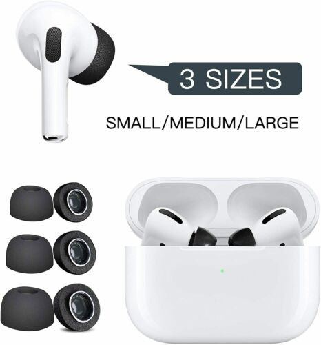 Black Memory Foam Replacement Tips for Apple Airpod Pro Earbuds 1 Pair Each Size