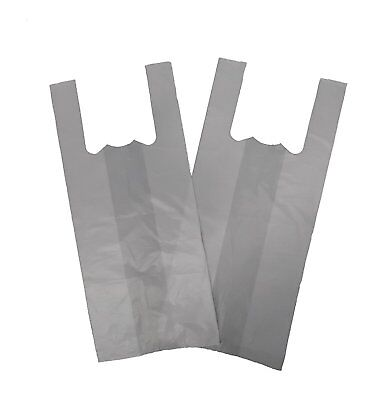 100 Plastic Vest Bottle Carrier Bags White Strong Bags 7.5 x 12.5 x 17.5
