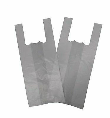 200 Plastic Vest Bottle Carrier Bags White Strong Bags 7.5 x 12.5 x 17.5