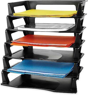 Desk Organizer Letter Tray Desktop Paper Folder Office Plastic 6 Tier Black New