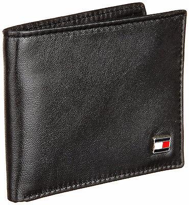 New Tommy Hilfiger Men's Leather Credit Card Slim Billfold Bifold Wallet Black