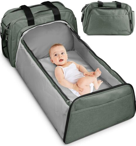 3 in 1 Portable Bassinet for Baby, Foldable Travel Bassinet Functions as Diaper
