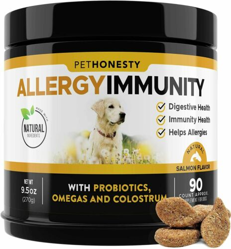 PetHonesty Allergy Immunity Support Omega 3 Supplement (90 Count, Salmon Flavor)