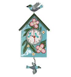 Gorgeous BLESSED NEST Designer Wall Clock by Allen Designs * Bird House