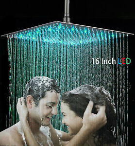 Brushed Nickel 16 Inch LED Square Stainless Steel Shower Head -Rain Showerhead