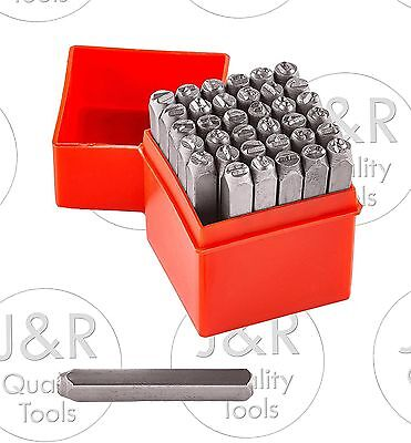 "1/4"" 36pc Letter Number Stamp Punch 6mm Hardened Steel Metal Wood Leather CrV"