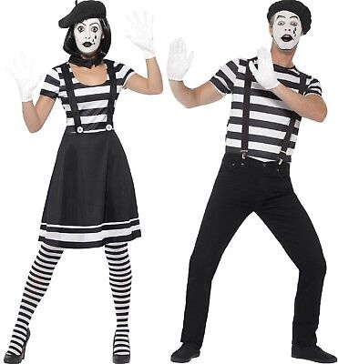 Couples Ladies AND Mens French Mime Circus Carnival Fancy Dress Costumes Outfits](Female Mime Costume)