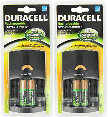 (2 pack) Duracell Value Charger w/ 2 AA Rechargeable Staycharged Batteries