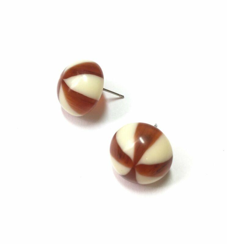 Tortoise Cream Candy Stripe Retro Button Stud Earrings
