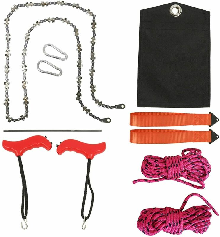 53 Inch High Tree Limbs Hand Rope Chain Saw, Upgraded Chain Camping Hunting EAN