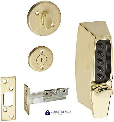 Kaba Simplex Mechanical Pushbutton Auxiliary Lock With Thumbturn Deadbolt Brass