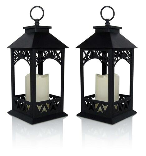 Decorative LED Black Lantern With Flameless LED Candle Indoor Outdoor Set of 2