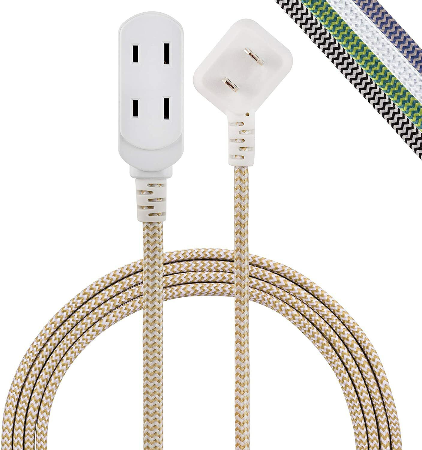 Electrical Extension Cords Braided Fabric Cable Flat Plug Polarized Tan/White