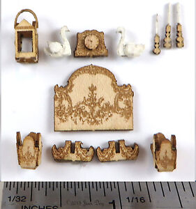 KIT-French-Country-Fireplace-Accessories-only-Laser-Cut-Kit-1-48-1-4-034-by-J-Day