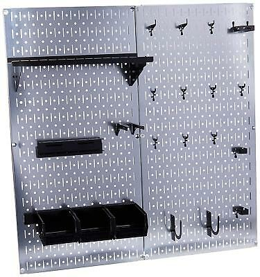 Wall Mount Pegboard Tool Organizer Garage Shed Shack Basement Kit With Shelves