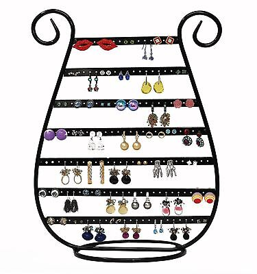(Black Jewelry Stand Rack Harp Shaped Earring Necklace Organizer Holder Display)