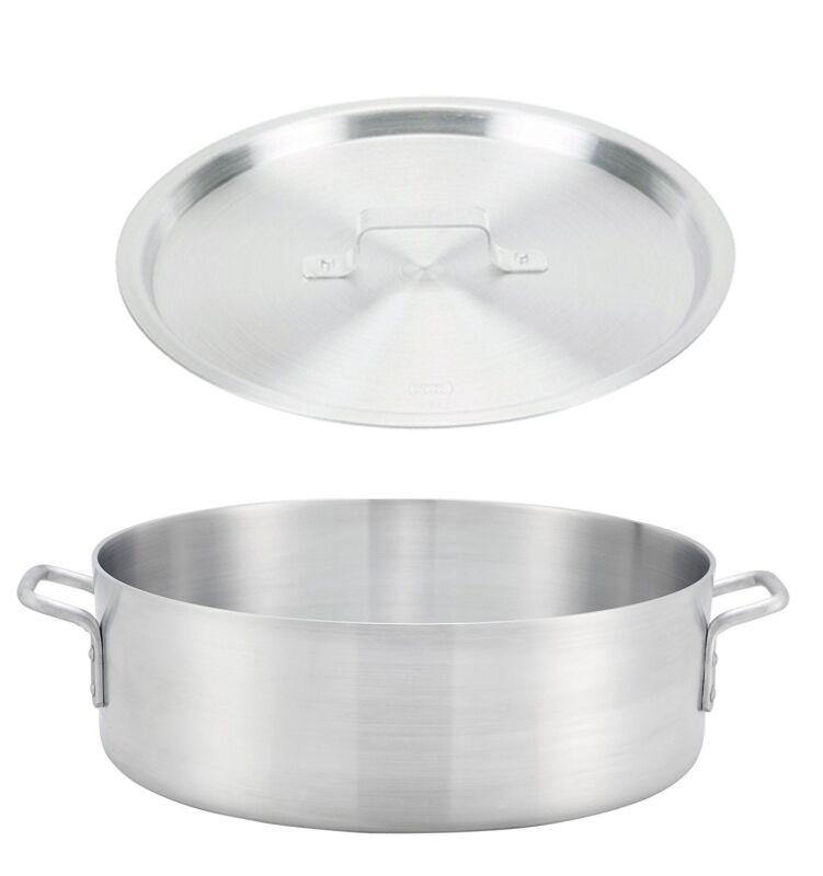 Winco ALB-40, 40-Quart Aluminum Brazier Pan with Cover