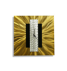 Modern Gold, Black & Silver Abstract Metal Wall Clock - Gold Rush by Jon Allen