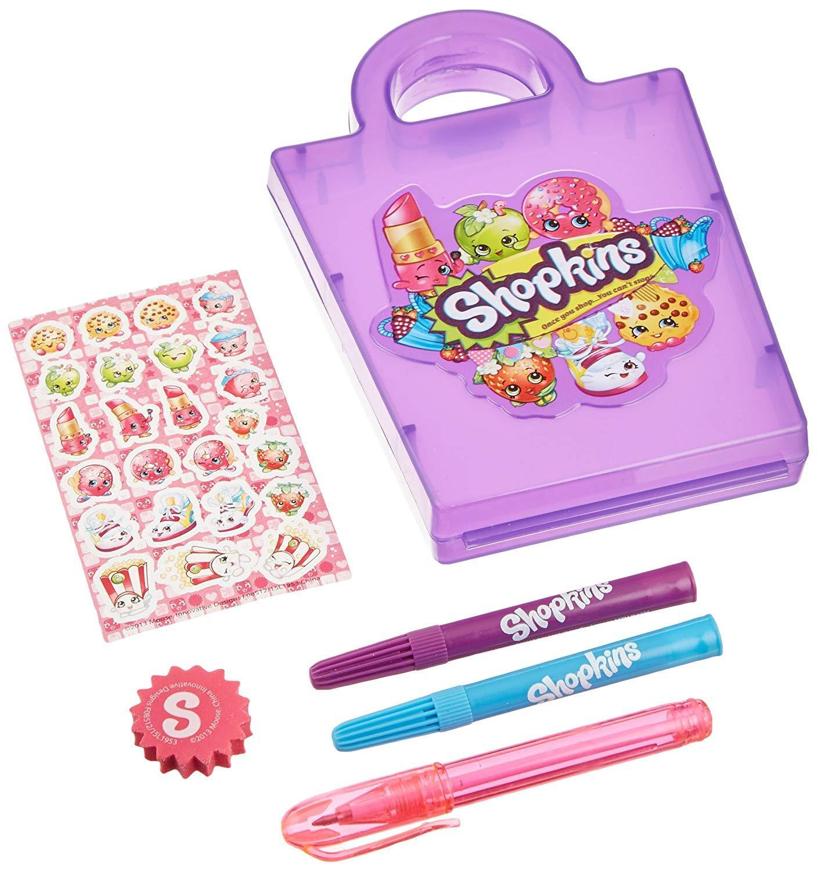 Details about Shopkins Mini Stationery Case Set 2 Mini Markers Pen Sticker  Sheets Memo Pad