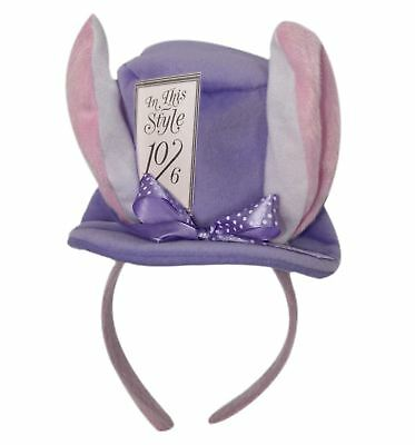 Ladies Purple Mini Mad Hatter Rabbit Headband Fascinator Wonderland Accessory (Mad Hatter Headband)