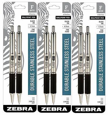 Zebra Pen Zebra F-402 Ballpoint Stainless Steel Retractable Pen 6 Pens