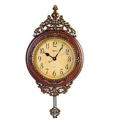 Grandfather Wall Clock Vintage Decor Wood Pendulum Antique Brown Bedroom Living