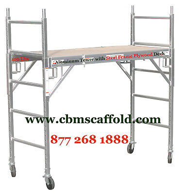 New 29 W X 72 L X 72 H Deck Aluminum Scaffold Rolling Tower With U Locks