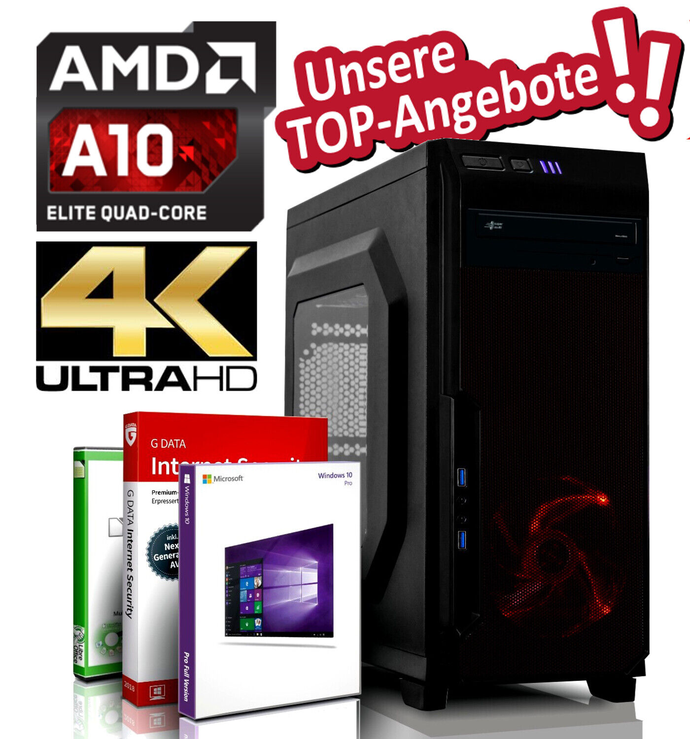 Desktop PC A10-9700 4x 3.8 GHz 16GB DDR4 256 GB SSD + 500GB Windows 10 Pro R7 4K