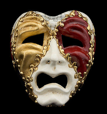 Mask from Venice Face Volto Paper Mache Musica White Tragedy Weeping 2277 GT4