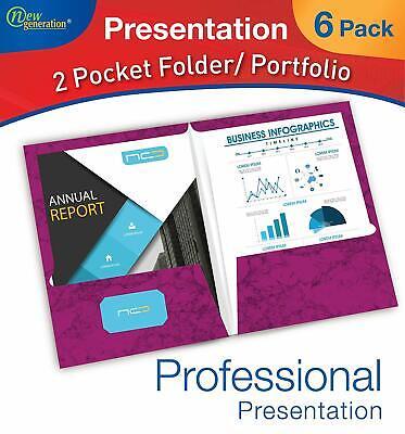 New Generation 2 Pocket Presentation Folderportfolio Heavy Duty - 6 Pack Marble