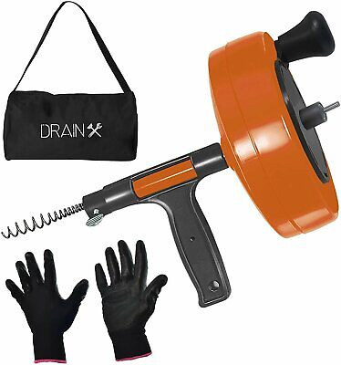 Drainx Power Pro 25-ft Steel Drum Auger Plumbing Snake With Drill Adapter ...