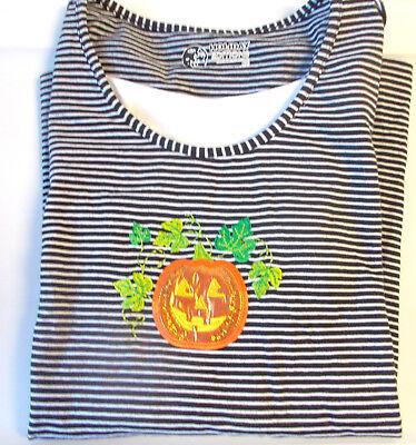 Black And White Striped Shirt Halloween Costume (Halloween Black White Striped Pumpkin Leaves Long Sleeve Shirt S M L XL 2X 3X)