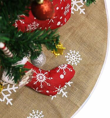 48 Inches Christmas Tree Skirt, Natural Burlap with Brown Color Cozy and Perfect ()