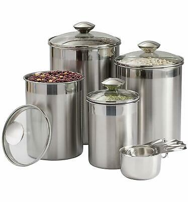 Beautiful Canister Set for Kitchen 8-Piece Stainless Steel w
